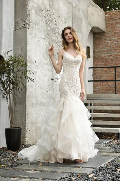 Gorgeous Appliques Mermaid Organza Wedding Dress_9