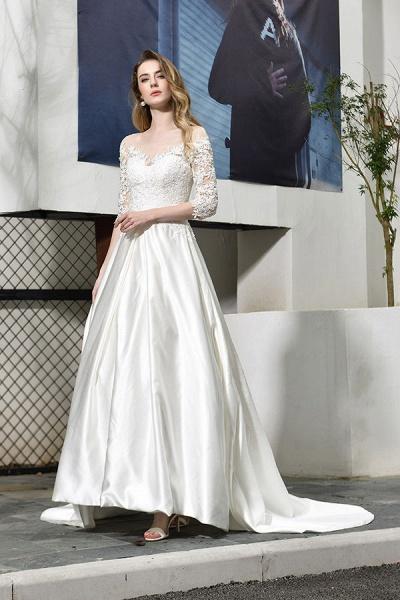 Elegant Lace-up A-Line Applique Satin Wedding Dress_6