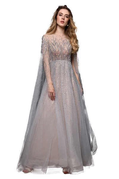 Luxury Shawl Sequined A-line Long Prom Dress_11