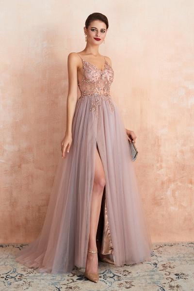 Best V-neck Tulle A-line Prom Dress_11