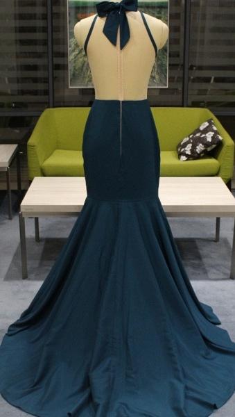 High Neck Sheer Sweep Train Sleeveless Zipper Sexy Mermaid Prom Dresses_3