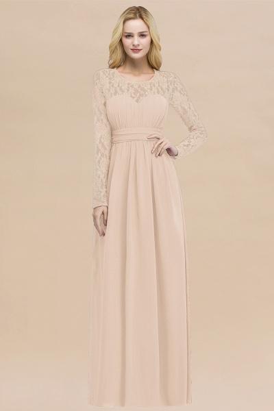 Elegant A-Line Chiffon Jewel Long Sleeves Ruffles Floor-Length Bridesmaid Dresses_5