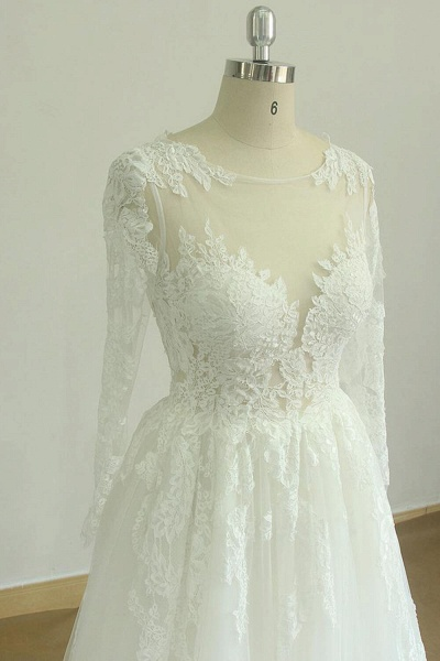 Back Cut-out Long Sleeve Tulle A-line Wedding Dress_4