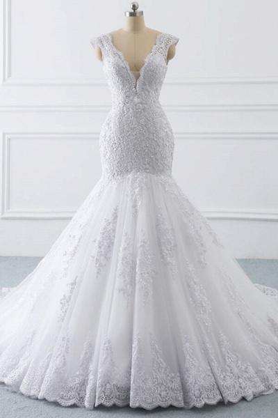 Chic V-neck Appliques Mermaid Tulle Wedding Dress_1