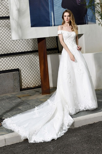 Gorgeous A-Line Lace Off Shoulder Wedding Dress