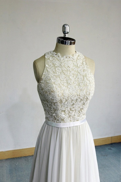 Eye-catching Lace Chiffon A-line Wedding Dress_4