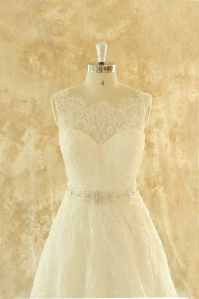 Amazing Illusion Lace Tulle A-line Wedding Dress_4
