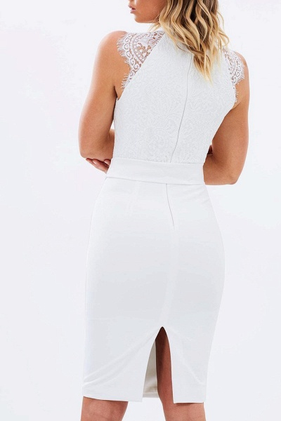 Elegnat Lace Kength Length Sheath Bridesmaid Dress_5