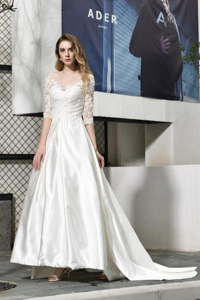 Lace Half Sleeves V Neck Sheer Tulle Wedding Dress_6