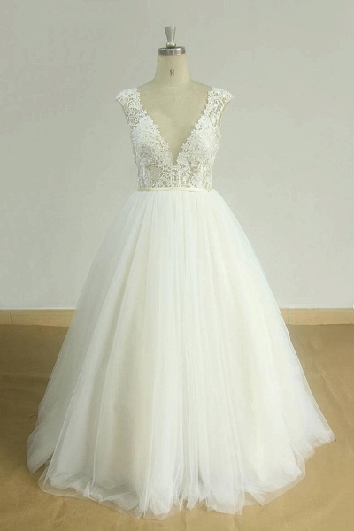Graceful Open Back Lace Tulle A-line Wedding Dress_1