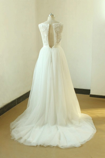 Elegant Illusion Lace Tulle A-line Wedding Dress_2