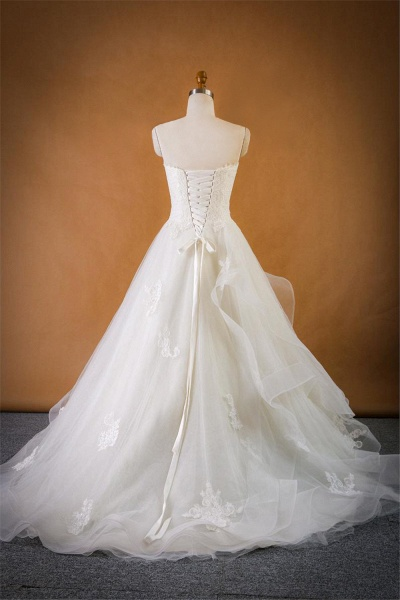 Strapless Lace-up Tulle A-line Wedding Dress_3