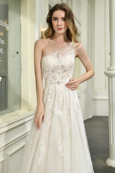 One Shoulder Lace Tulle Backless Wedding Dresses_13