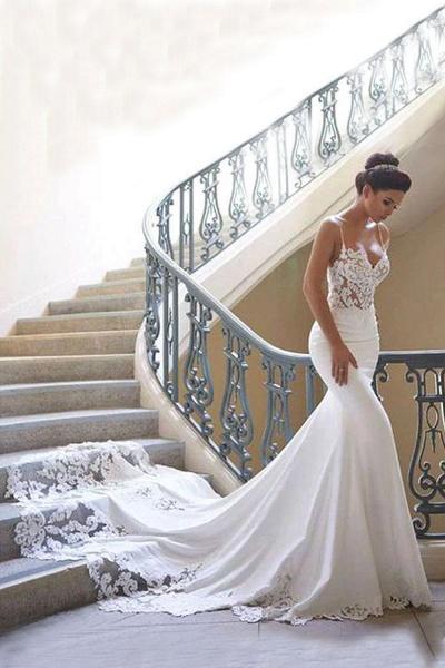 Precious Spaghetti Strap Lace Mermaid Wedding Dress_1