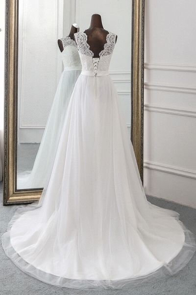 Graceful Lace-up Tulle A-line Wedding Dress_3