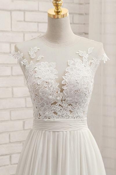 Front Slit Appliques Chiffon A-line Wedding Dress_6