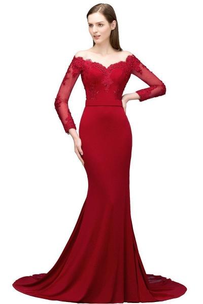 Attractive Off-the-shoulder Satin Mermaid Evening Dress_1