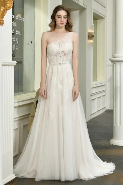 One Shoulder Lace Tulle Backless Wedding Dresses_1