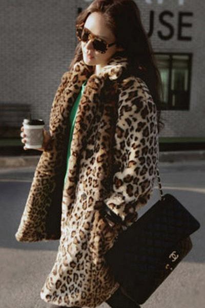 Women's Daily Fall & Winter Leopard Faux Fur Coat_3