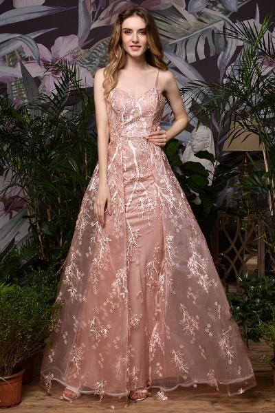 Dusty Pink Spaghetti Strap A-line Lace Prom Dress_2