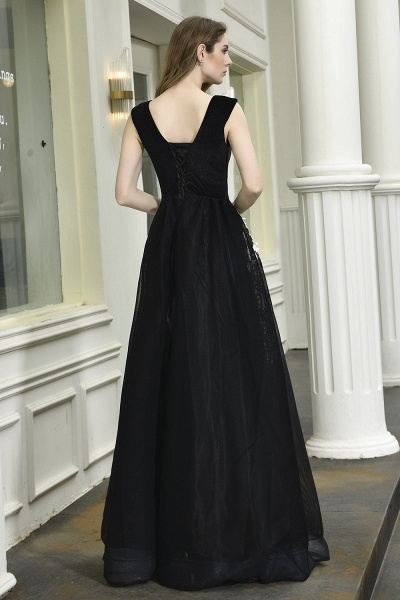 Appliques V-neck Floor Length A-line Prom Dress_3