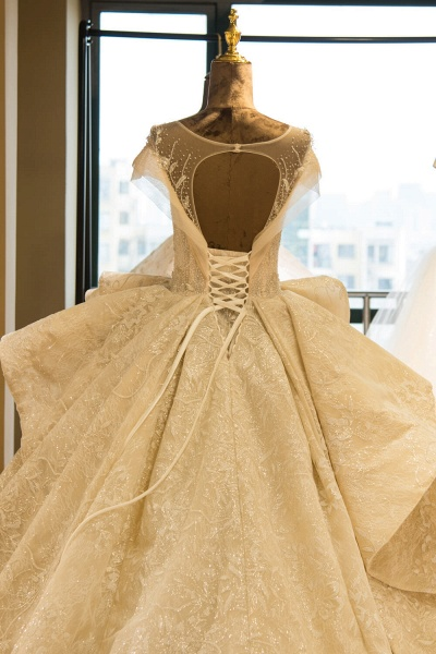 Cap Sleeve Appliques Tulle A-line Wedding Dress_6