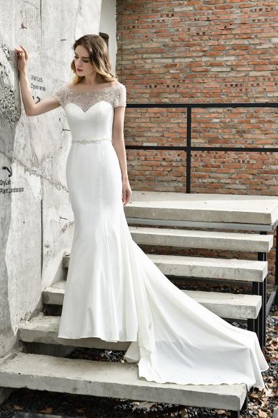 Short Sleeve Lace Mermaid Pearls Wedding Dress With Belt_4