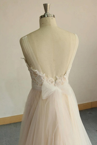 Awesome Illusion Lace Tulle A-line Wedding Dress_7