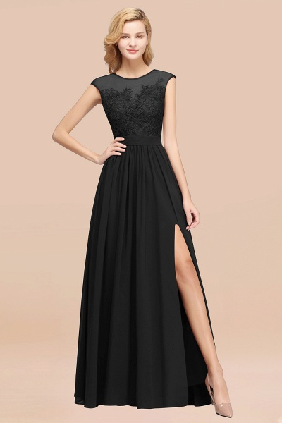 A-line Chiffon Lace Jewel Sleeveless Floor-Length Bridesmaid Dresses with Appliques_29