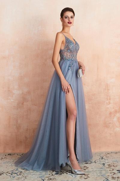 Best V-neck Tulle A-line Prom Dress_25