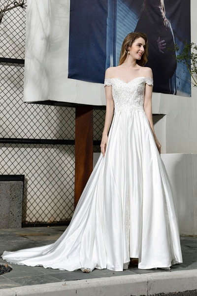 Off the Shoulder Appliques Satin Wedding Dress_6