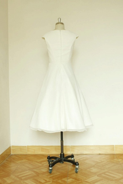 Cap Sleeve Chiffon Mini A-line Wedding Dress_3