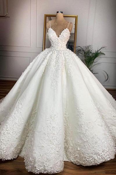 Spaghetti Strap Appliques Satin Wedding Dress_1