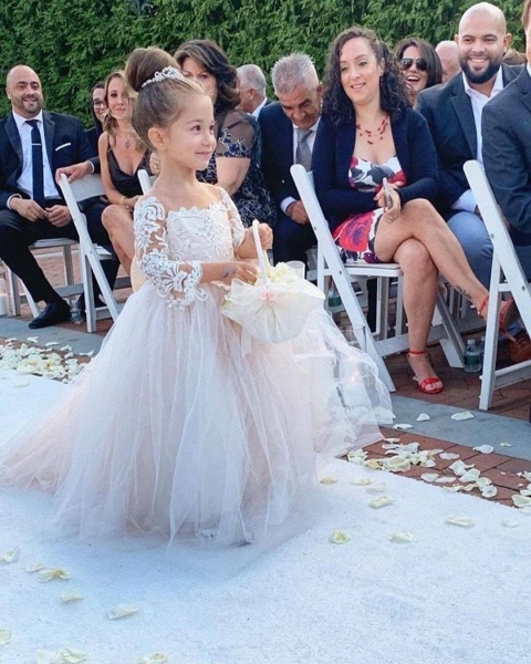 Princess Jewel Long Sleeves Sweep Train Lace Tulle Flower Girl Dresses with Bowknot_3