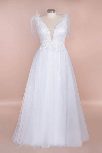 Chic V-neck Appliques Tulle A-line Wedding Dress_1