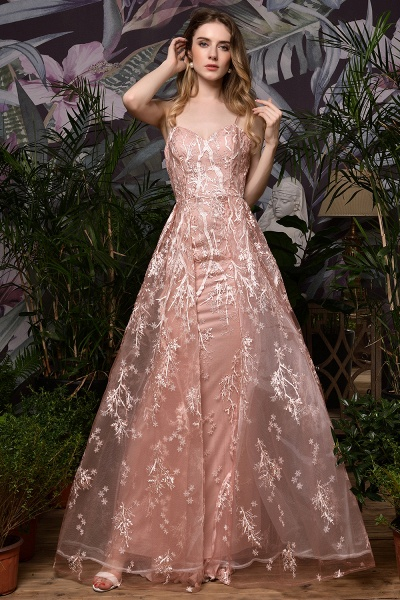 Dusty Pink Spaghetti Strap A-line Lace Prom Dress_4