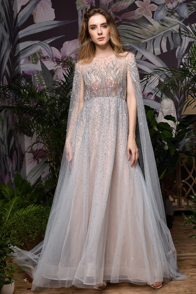 Luxury Shawl Sequined A-line Long Prom Dress_3