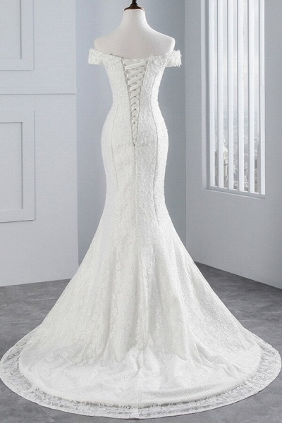 Off Shoulder Lace-up Mermaid Lace Wedding Dress_3