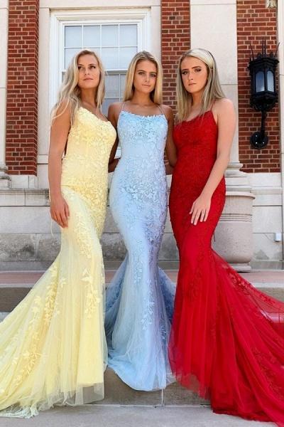 Elegant Spaghetti Straps Lace Column Prom Dress_1