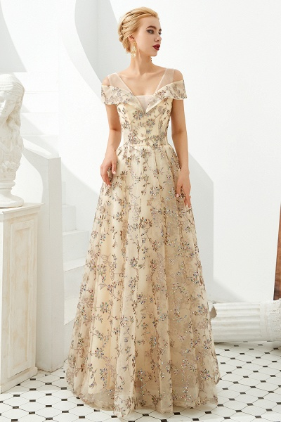 Graceful V-neck Tulle A-line Prom Dress_6