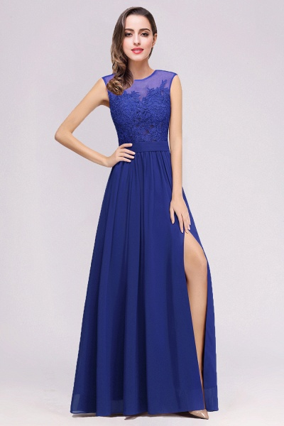 Lace Chiffon Floor-Length A-line Bridesmaid Dress_9