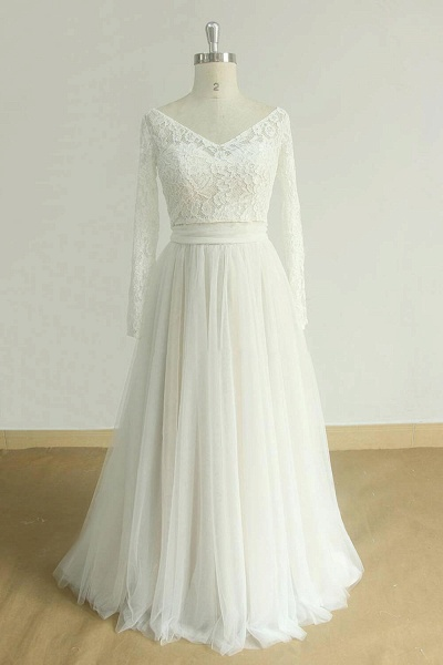 Detachable Lace-up Tulle A-line Wedding Dress_4