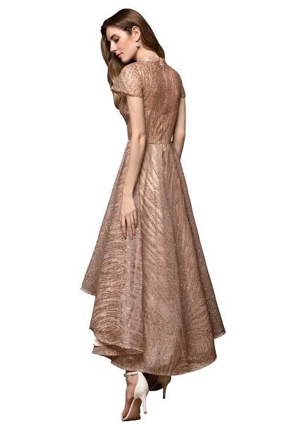 High neck Champange Short Sleeve Sequined Prom Dress_13