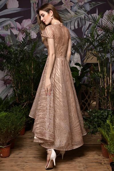 High neck Champange Short Sleeve Sequined Prom Dress_11