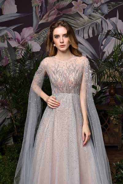 Luxury Shawl Sequined A-line Long Prom Dress_26