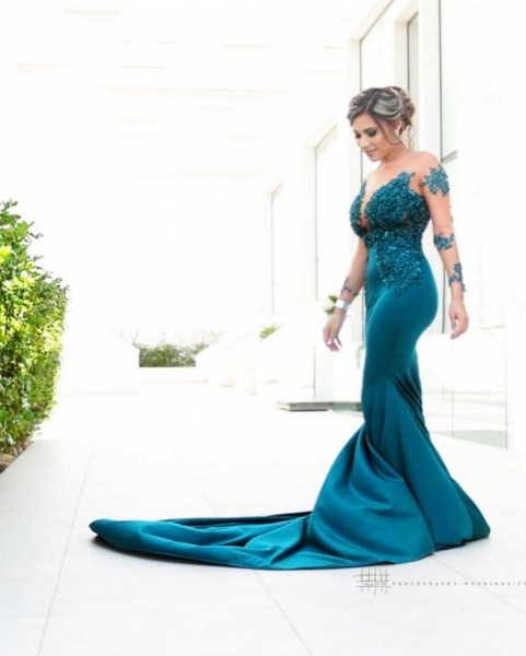 Latest Jewel Satin Mermaid Prom Dress_2