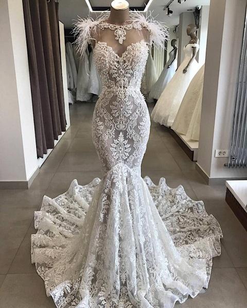 Glorious Beading Appliques Mermaid Wedding Dress_1