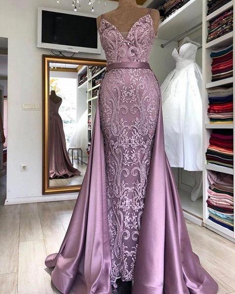 Eye-catching V-neck Stretch Satin A-line Prom Dress_1