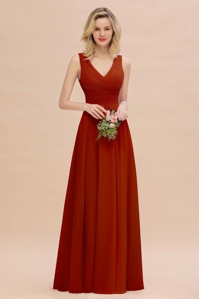 BM0752 Elegant A-line V-Neck Ruffles Long Bridesmaid Dress_48