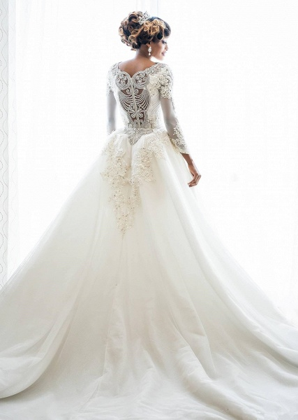 Mermaid Beads Lace Appliques Long Sleeve Wedding Dresses with Overskirt_3